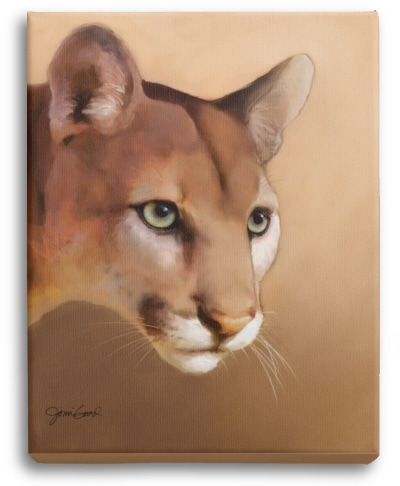 Cougar print on stretched canvas.
