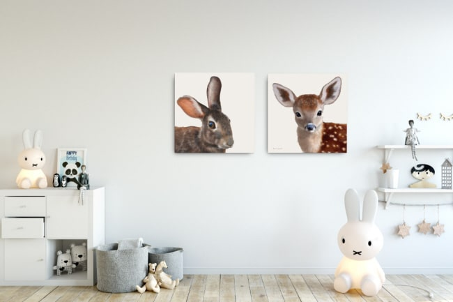 Rabbit print on stretched canvas, paired with the fawn.